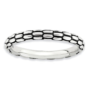 2.5mm Sterling Silver Stackable Antiqued Snake Skin Band - The Black Bow Jewelry Co.
