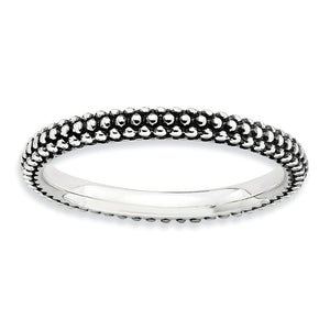 2.5mm Sterling Silver Stackable Antiqued Small Bead Band - The Black Bow Jewelry Co.