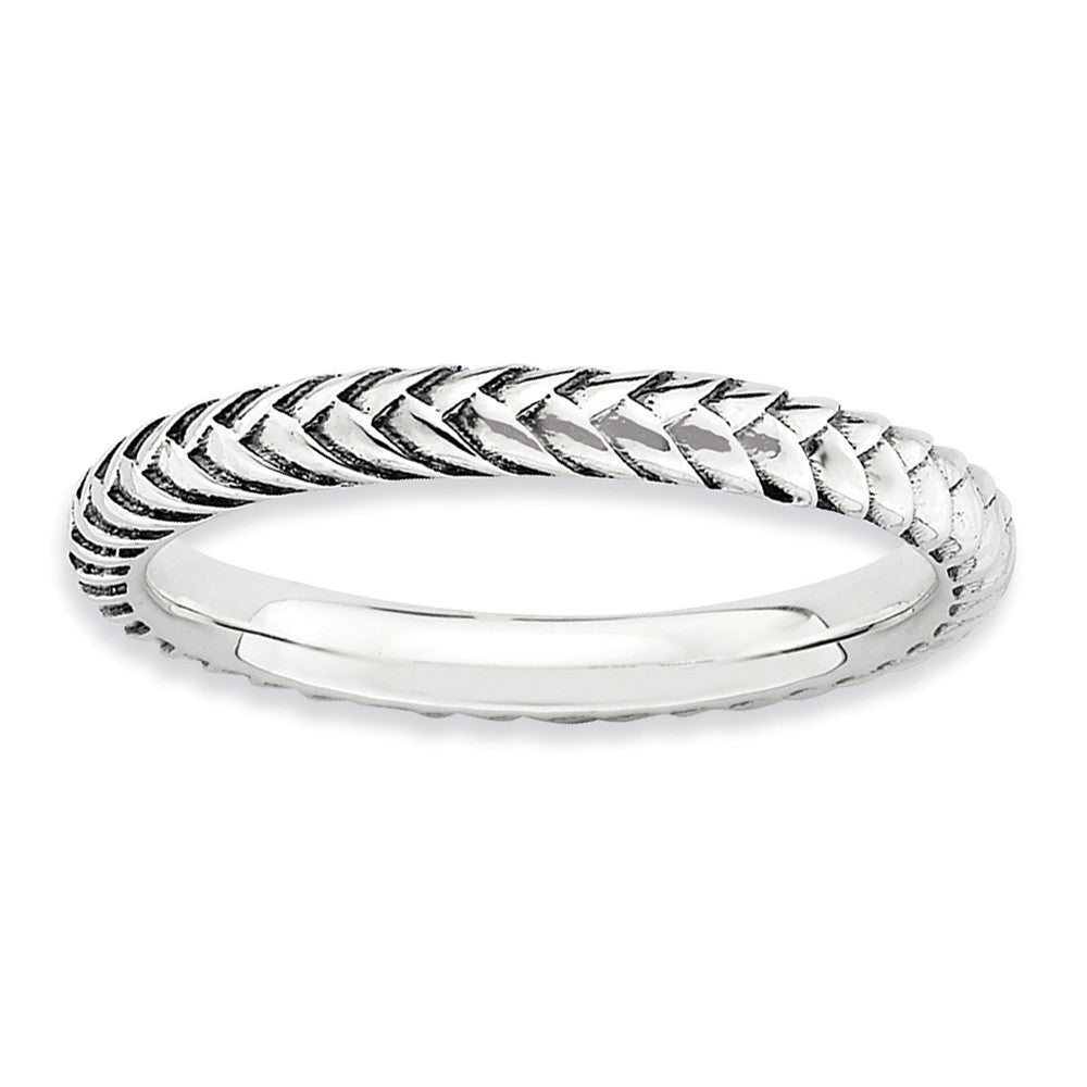 2.5mm Sterling Silver Stackable Antiqued Wheat Band - The Black Bow Jewelry Co.