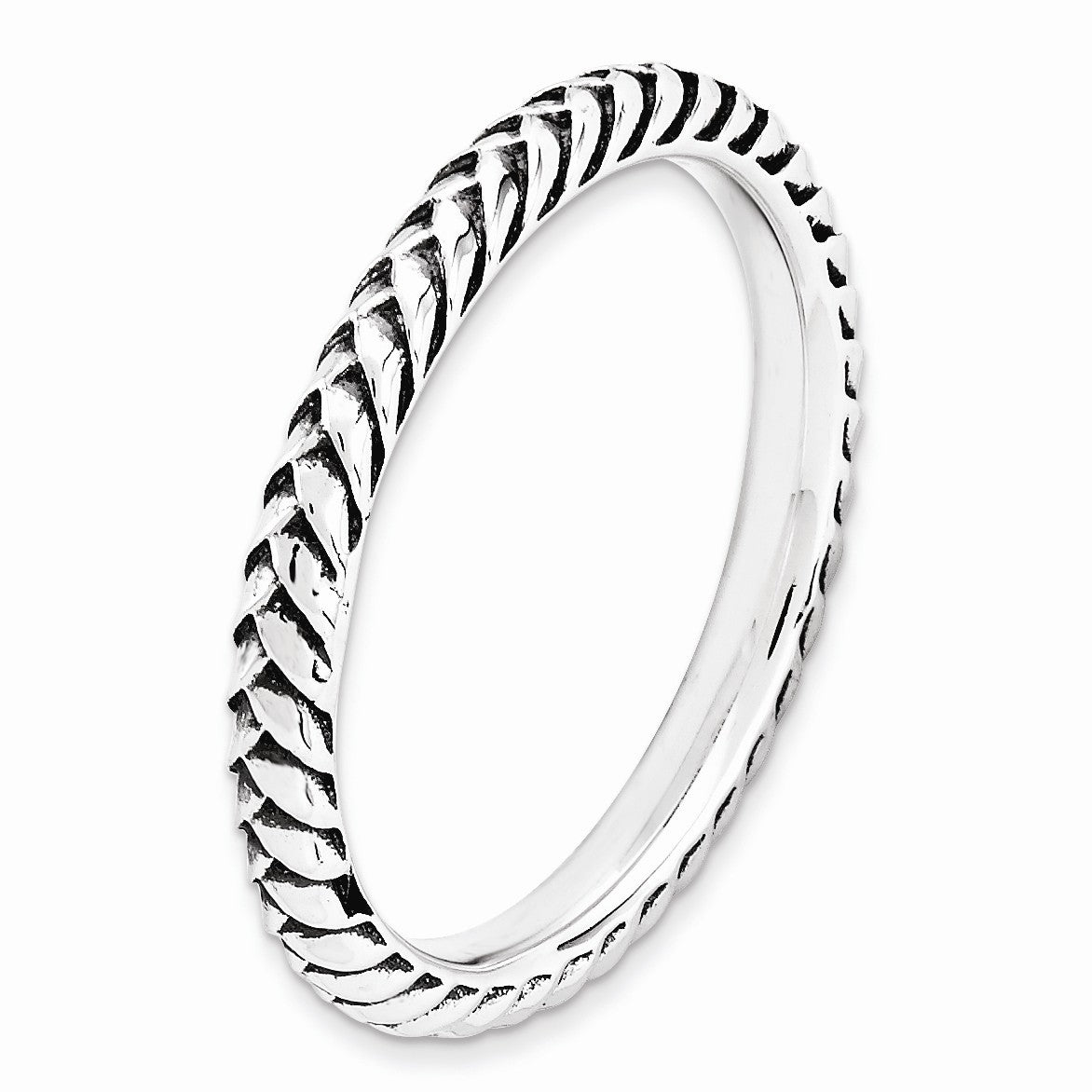 Alternate view of the 2.5mm Sterling Silver Stackable Antiqued Wheat Band by The Black Bow Jewelry Co.