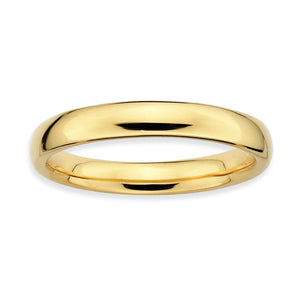 3.25mm 14k Yellow Gold Plated Sterling Silver Stackable Polished Band - The Black Bow Jewelry Co.