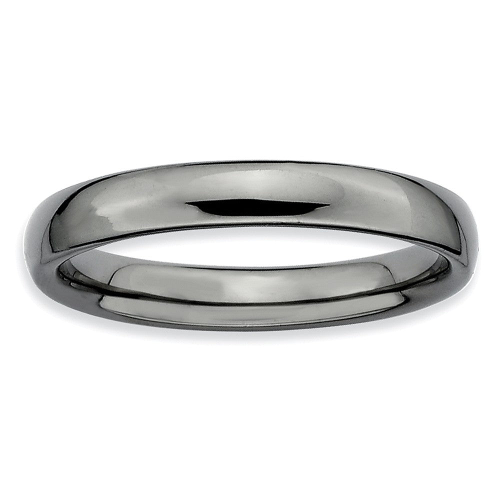 3.25mm Black Plated Sterling Silver Stackable Polished Band - The Black Bow Jewelry Co.