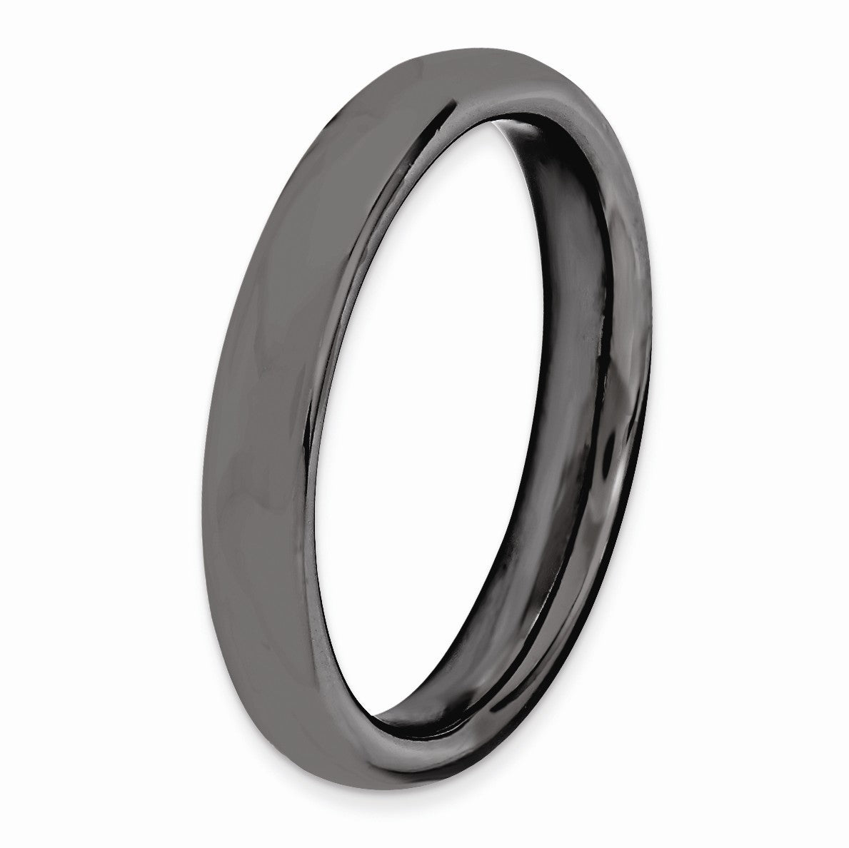 Alternate view of the 3.25mm Black Plated Sterling Silver Stackable Polished Band by The Black Bow Jewelry Co.