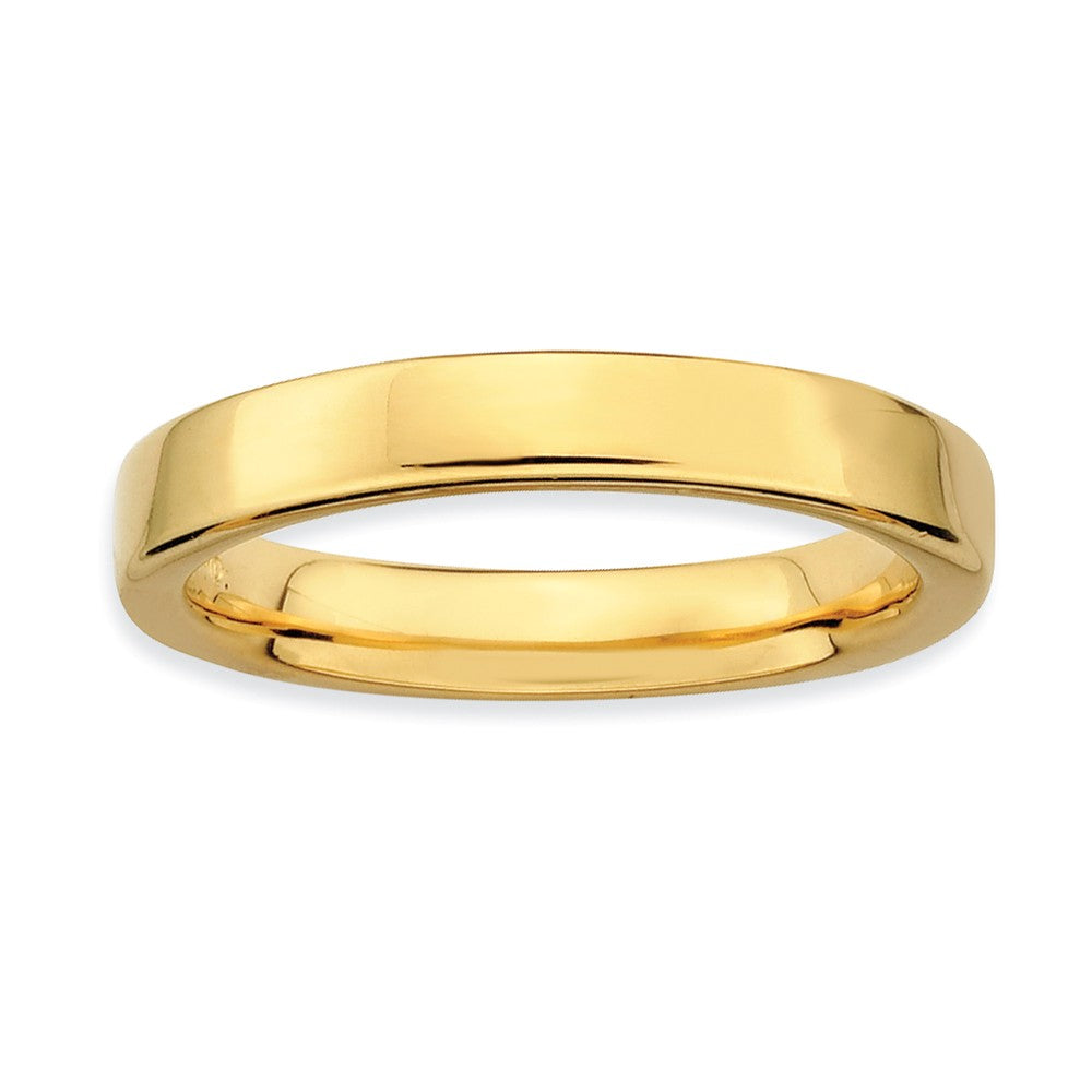 14k Yellow Gold Plated Sterling Silver Polished Flat 3.5mm Stack Band - The Black Bow Jewelry Co.