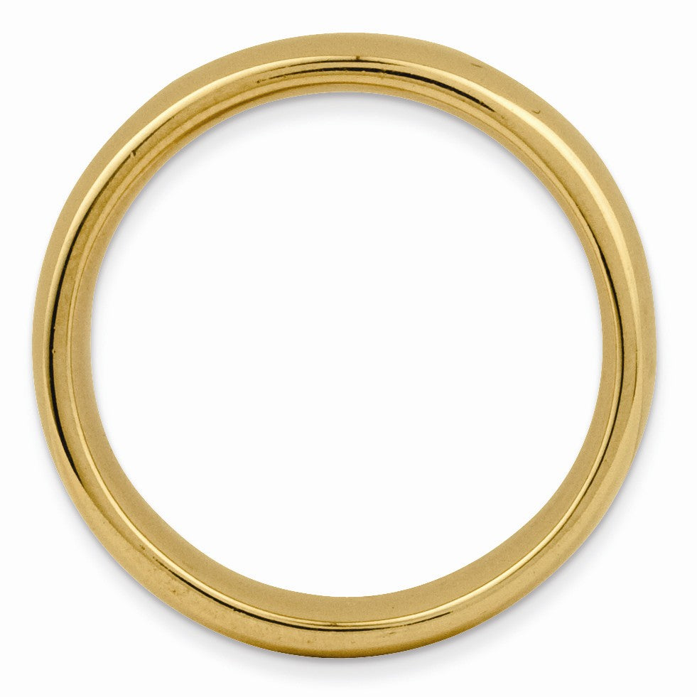 Alternate view of the 14k Yellow Gold Plated Sterling Silver Polished Flat 3.5mm Stack Band by The Black Bow Jewelry Co.