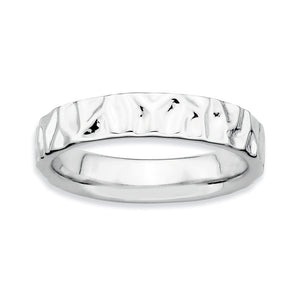 Sterling Silver Stackable Hammered Polished 4.25mm Band - The Black Bow Jewelry Co.