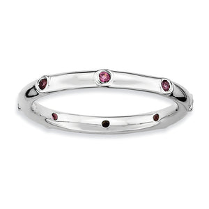 Sterling Silver Stackable Rhodolite Garnet Accent 2.25mm Band - The Black Bow Jewelry Co.