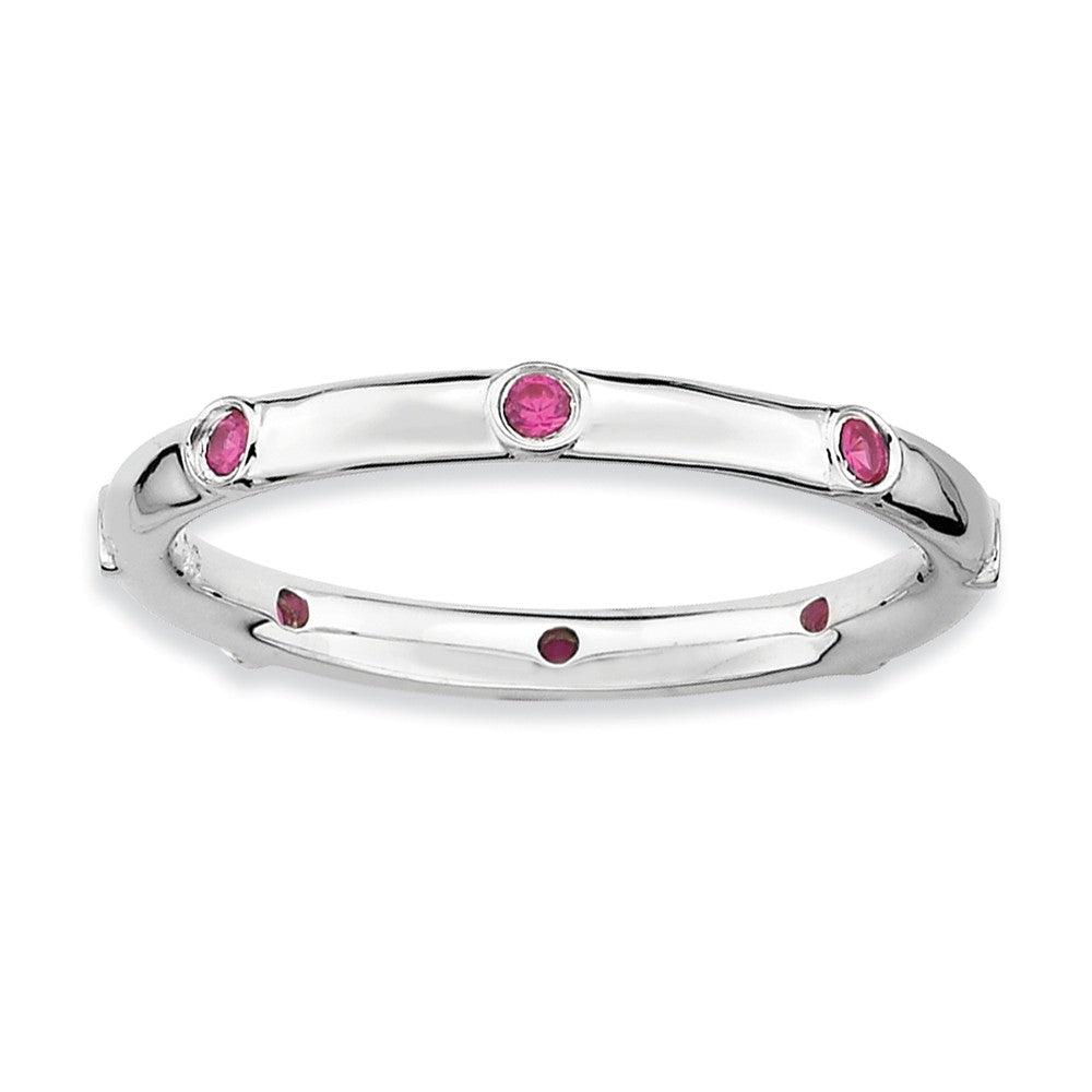 Sterling Silver Stackable Created Ruby 2.25mm Band - The Black Bow Jewelry Co.