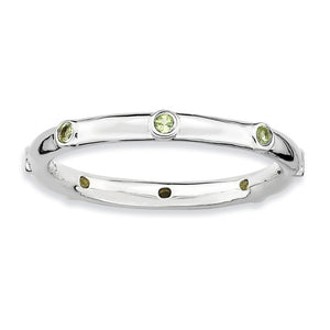 Sterling Silver Stackable Peridot Accent 2.25mm Band - The Black Bow Jewelry Co.