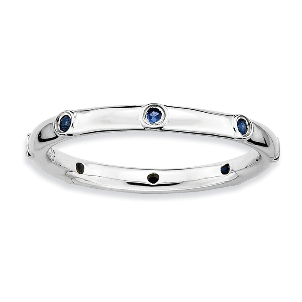Sterling Silver Stackable Created Sapphire Accent 2.25mm Band - The Black Bow Jewelry Co.