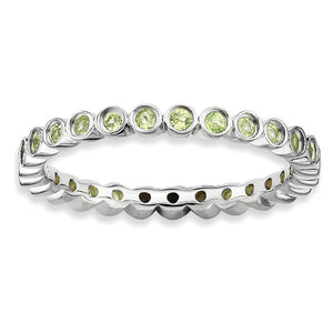 Sterling Silver Stackable Bezel Set Peridot 2.25mm Band - The Black Bow Jewelry Co.