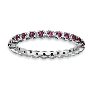 Sterling Silver Stackable Rhodolite Garnet Band - The Black Bow Jewelry Co.