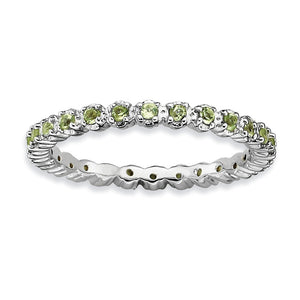 2.25mm Rhodium Plated Sterling Silver Stackable Peridot Band - The Black Bow Jewelry Co.