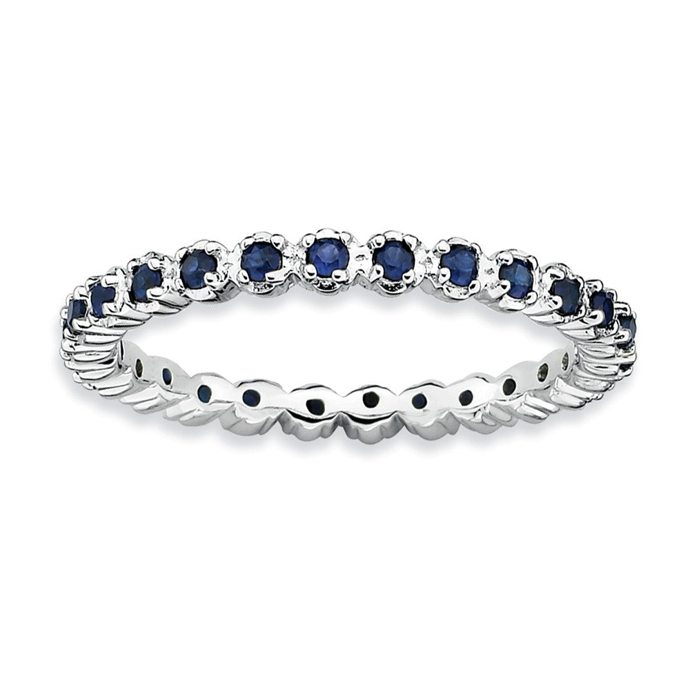2.25mm Silver Stackable Created Sapphire Band - The Black Bow Jewelry Co.