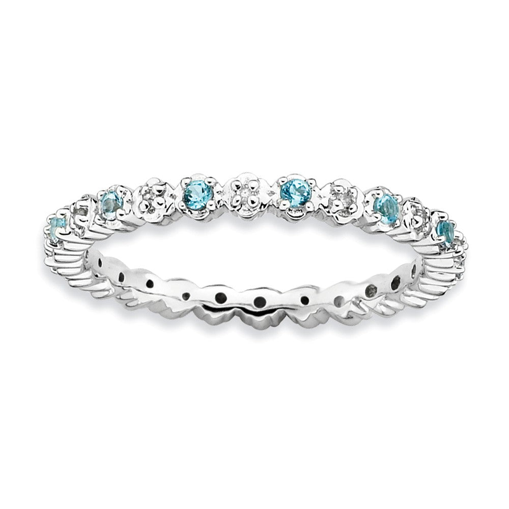 2.25mm Stackable Blue Topaz & .04 Ctw HI/I3 Diamond Silver Band - The Black Bow Jewelry Co.