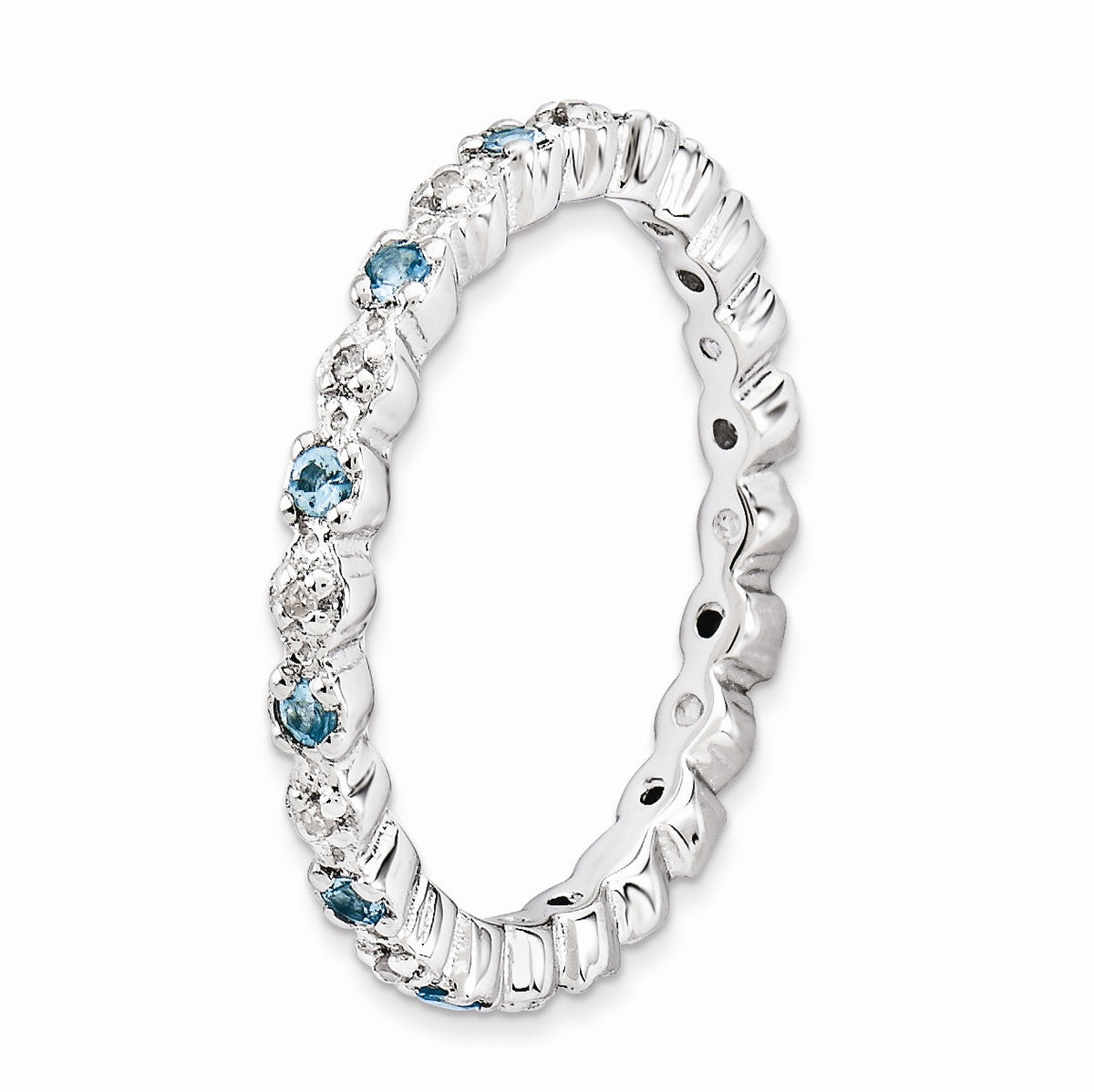 Alternate view of the 2.25mm Stackable Blue Topaz & .04 Ctw HI/I3 Diamond Silver Band by The Black Bow Jewelry Co.