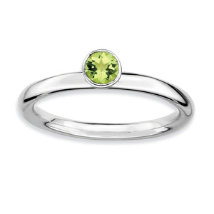Stackable High Profile 4mm Peridot Silver Ring - The Black Bow Jewelry Co.