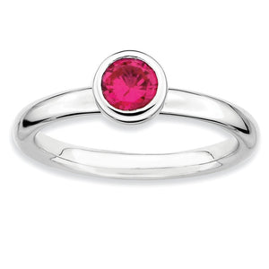 Stackable Low Profile 5mm Created Ruby Sterling Silver Ring - The Black Bow Jewelry Co.