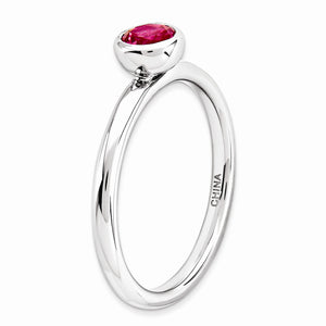 Alternate view of the Stackable Low Profile 5mm Created Ruby Sterling Silver Ring by The Black Bow Jewelry Co.