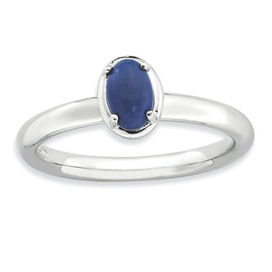 Sterling Silver Stackable Blue Lapis Ring - The Black Bow Jewelry Co.