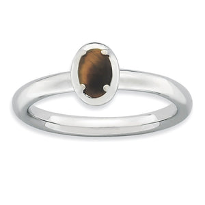Sterling Silver Stackable Tiger's Eye 2.25mm Ring - The Black Bow Jewelry Co.
