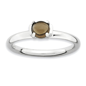 Silver Stackable Smokey Quartz Ring - The Black Bow Jewelry Co.