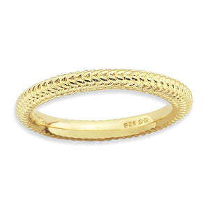 Stackable 14K Yellow Gold Plated Silver Domed Wheat Band - The Black Bow Jewelry Co.