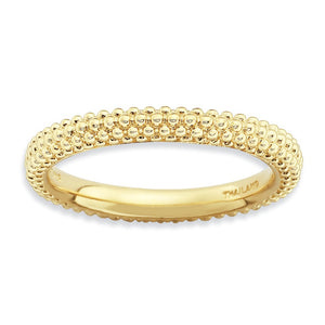 Stackable 14K Yellow Gold Plated Silver Domed Milgrain Band - The Black Bow Jewelry Co.