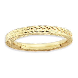 Stackable 14K Yellow Gold Plated Silver Domed Wheat Design Band - The Black Bow Jewelry Co.