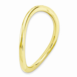 1.5mm Stackable 14K Yellow Gold Plated Silver Curved Smooth Band