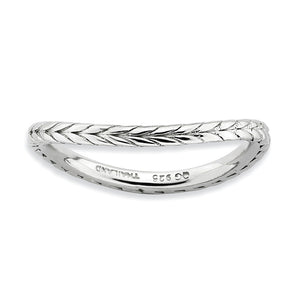 1.5mm Stackable Sterling Silver Curved Wheat Band - The Black Bow Jewelry Co.