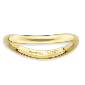 2.25mm Stackable 14K Yellow Gold Plated Silver Curved Polished Band - The Black Bow Jewelry Co.