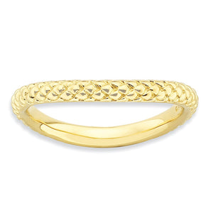 2.25mm Stackable 14K Yellow Gold Plated Silver Curved Textured Band - The Black Bow Jewelry Co.