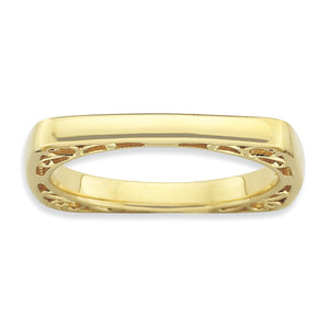 2.25mm Stackable 14K Yellow Gold Plated Silver Square Side Scroll Band - The Black Bow Jewelry Co.