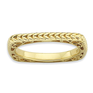 Stackable 14K Yellow Gold Plated Silver Square Wheat Band - The Black Bow Jewelry Co.