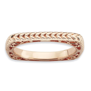 Stackable 14K Rose Gold Plated Silver Square Wheat Band - The Black Bow Jewelry Co.