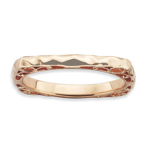2.25mm Stackable 14K Rose Gold Plated Silver Square Hammered Band - The Black Bow Jewelry Co.
