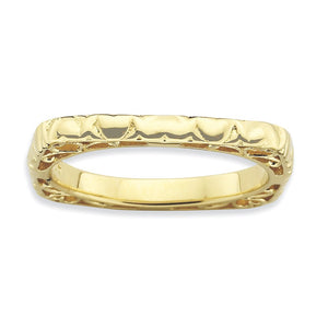 2.25mm Stackable 14K Yellow Gold Plated Silver Square Heart Band - The Black Bow Jewelry Co.