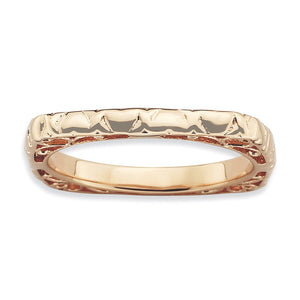 2.25mm Stackable 14K Rose Gold Plated Silver Square Heart Band - The Black Bow Jewelry Co.