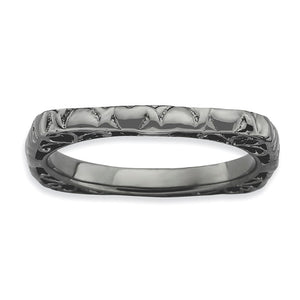 2.25mm Stackable Black Plated Silver Square Heart Band - The Black Bow Jewelry Co.