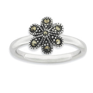 2.25mm Sterling Silver Stackable Marcasite Flower Ring - The Black Bow Jewelry Co.