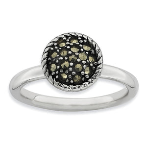 2.25mm Sterling Silver Stackable Marcasite Round Ring - The Black Bow Jewelry Co.