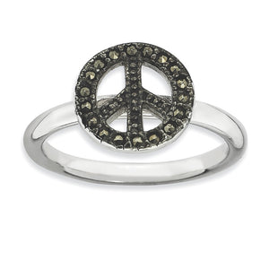 2.25mm Sterling Silver Stackable Marcasite Peace Sign Ring - The Black Bow Jewelry Co.