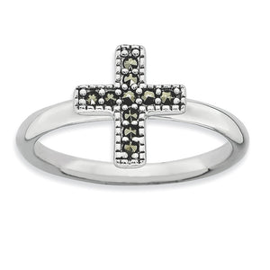2.25mm Sterling Silver Stackable Marcasite Cross Ring - The Black Bow Jewelry Co.
