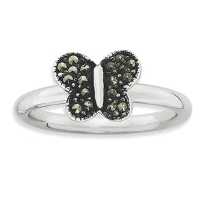 2.25mm Sterling Silver Stackable Marcasite Butterfly Ring - The Black Bow Jewelry Co.