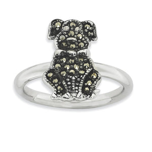 2.25mm Sterling Silver Stackable Marcasite Dog Ring - The Black Bow Jewelry Co.