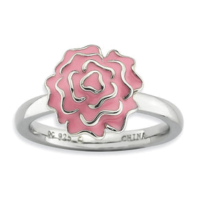 2.25mm Sterling Silver Stackable Enameled Carnation Ring - The Black Bow Jewelry Co.