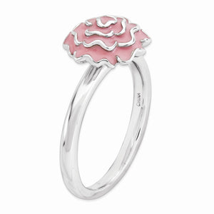 Alternate view of the 2.25mm Sterling Silver Stackable Enameled Carnation Ring by The Black Bow Jewelry Co.