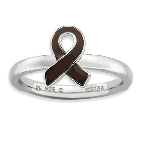 Silver Stackable Brown Enamel Awareness Ribbon Ring - The Black Bow Jewelry Co.