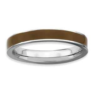 3.25mm Sterling Silver Stackable Brown Enameled Band - The Black Bow Jewelry Co.